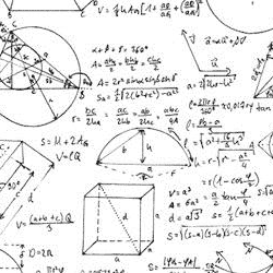 A sketch of mathematical formulas and geometric figures.